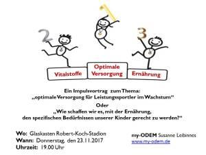 """23.11.2017 Impulsvortrag """"Optimale Versorgung für Leistungssportler im Wachstum"""""""