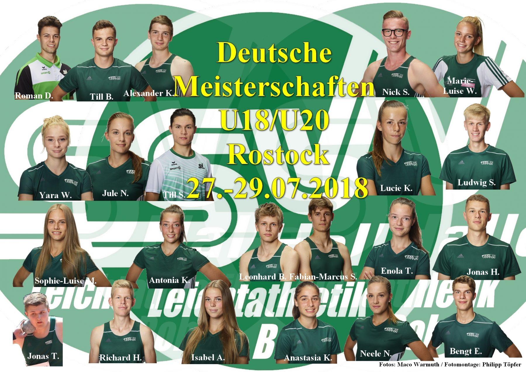 Teilnehmer U18/U20 DM Rostock - Fotomontage Philipp Töpfer