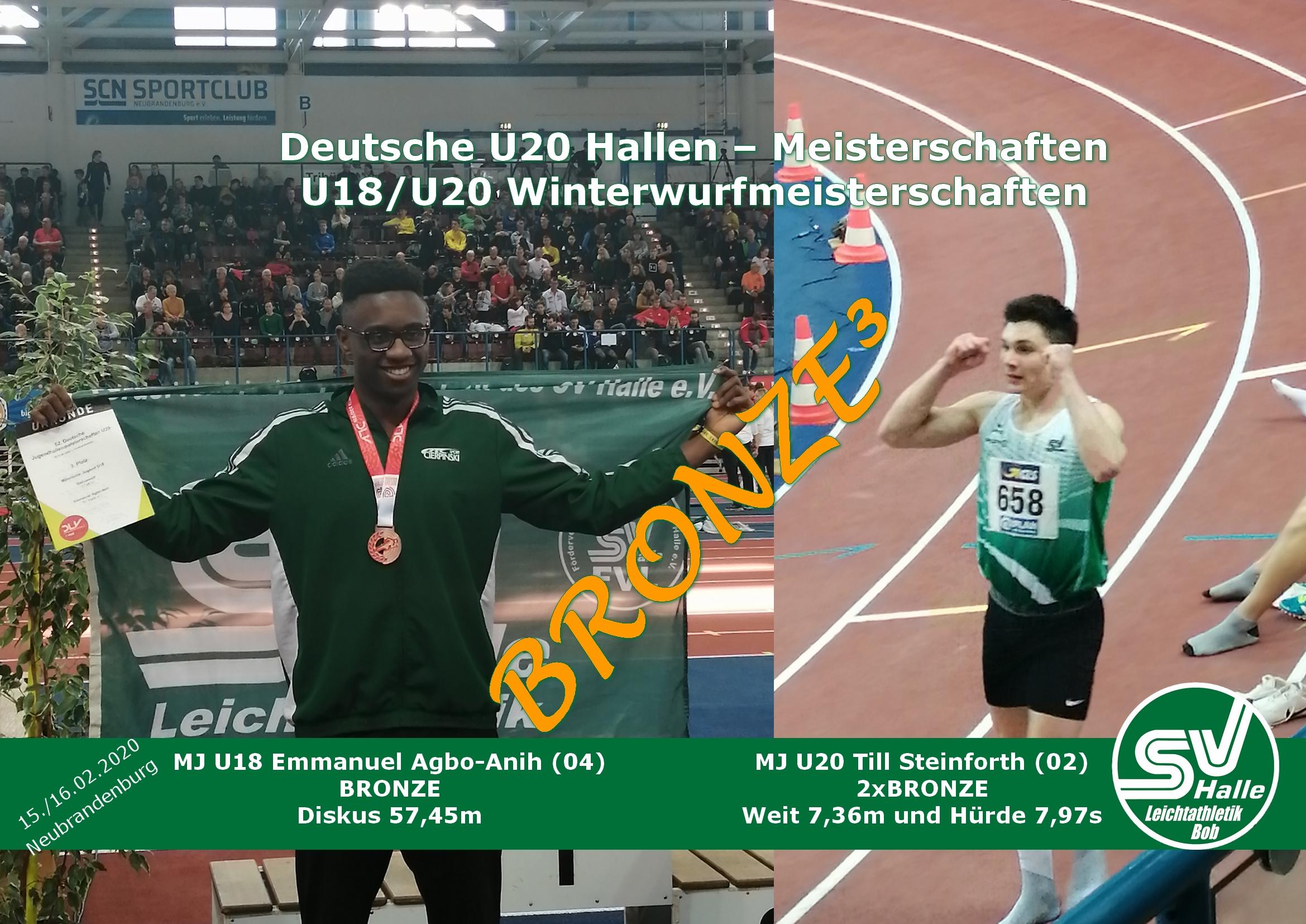 U20 Hallen DM Neubrandenburg Medaillengewinner Emmanuel Agbo-Anih und Till Steinforth