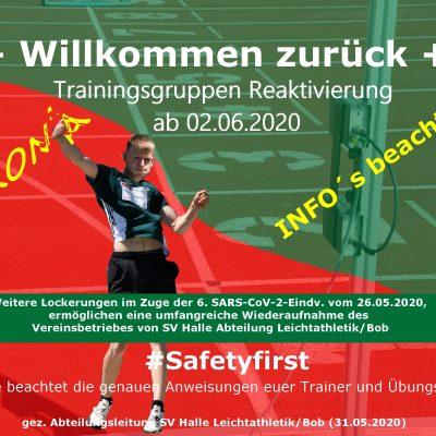 2020.05.31 - Corono - Trainingsgruppen Reaktivierung